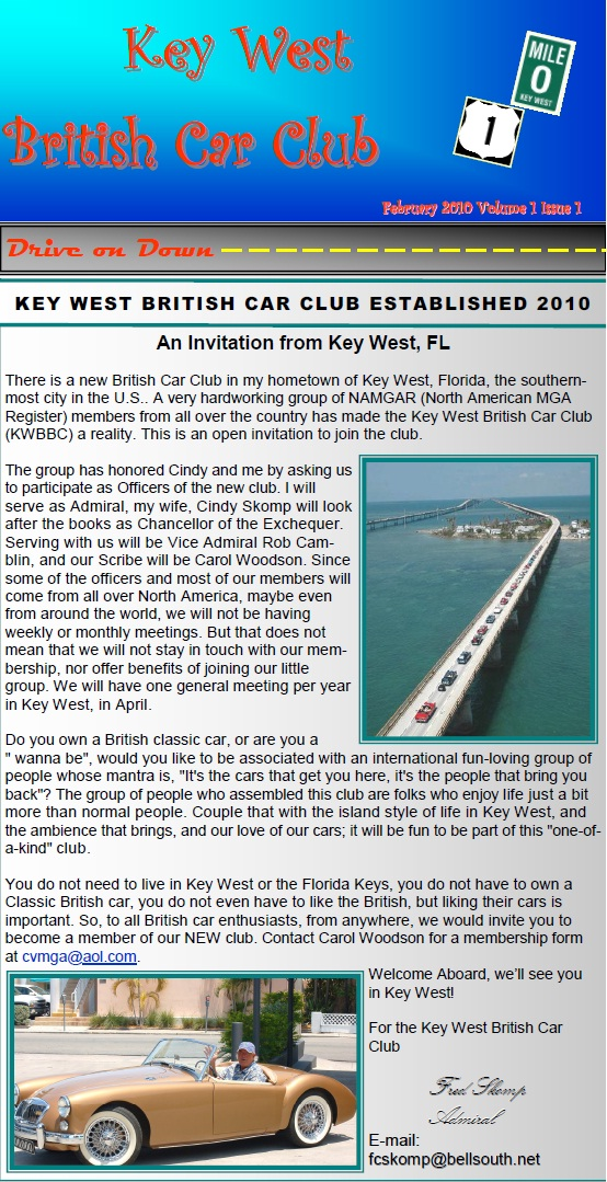Key West British Car Club - About Us